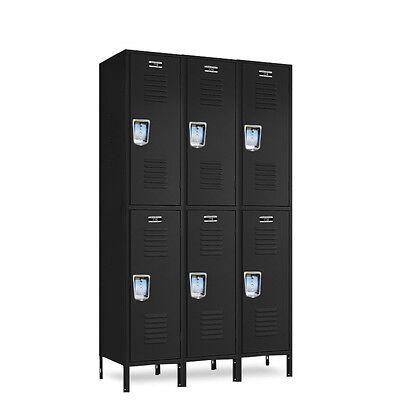 Jorgenson Black 2-tier Metal Lockers 36w X 12d X 3672h - 6 Openings A Set