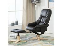 SORENTO REAL LEATHER BROWN SWIVEL RECLINER CHAIR & FOOT STOOL