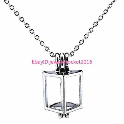 Hollow Cube Locket Necklace - Beads Cage Mini Pendant Akoya Oyster - Mini Locket Necklace