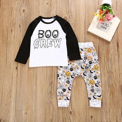 Halloween Outfits Babys (Newborn Infant Baby Boy Letter Pumpkin T shirt Tops+Pants Halloween Outfits Set)