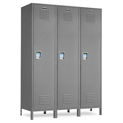 Metal School Gray Lockers 36w X 12d X 72h-78h Wlegs - 3 Openings