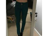 Turquoise skinny lift and shape jeans