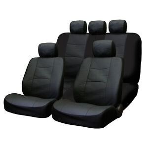 FOR MERCEDES NEW PREMIUM BREATHABLE BLACK SYN LEATHER CAR SEAT COVERS SET