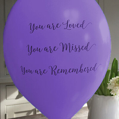 Angel & Dove 25 Purple 'You Are Loved' Biodegradable Latex Funeral Balloons - Are Balloons Latex