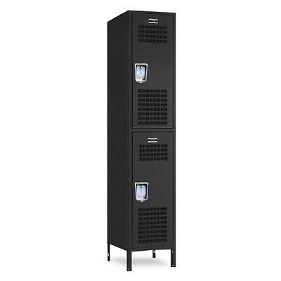 Black Double-tier Gym Metal Storage Lockers 15wide X 18d X 3672h-78h Wlegs
