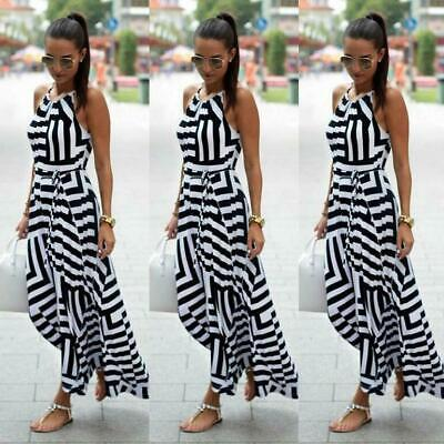 Evening Women Party stripe Sexy Summer Sundress Boho Long Dress Beach Maxi Dress
