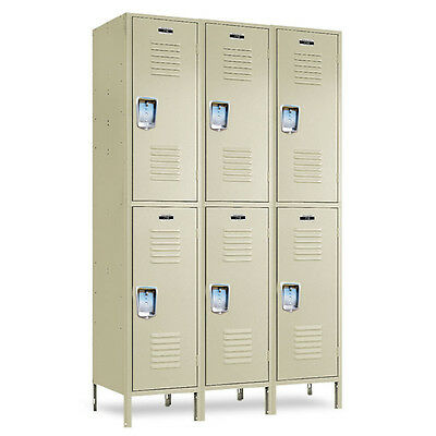 2-tier School Metal Lockers 36w X 12d X 3672h - 6 Openings A Set - Beige