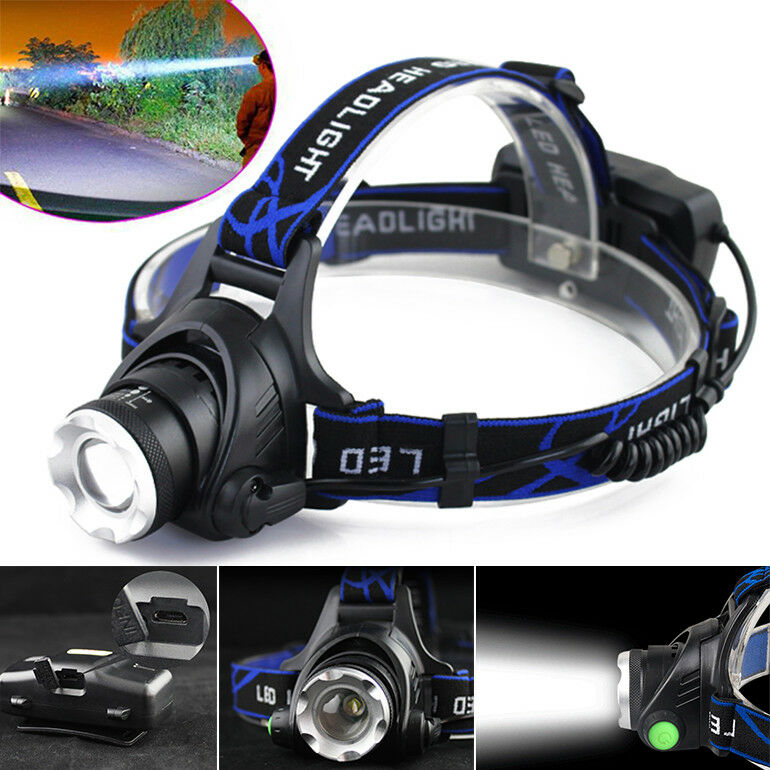 350000LM Rechargeable Head Light T6 LED Tactical Headlamp Zoomable+Charger+18650