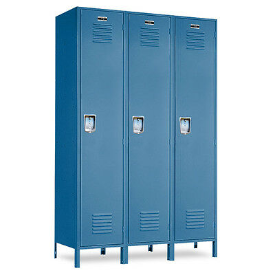 Metal School Blue Lockers 36w X 15d X 72h-78h Wlegs - 3 Openings