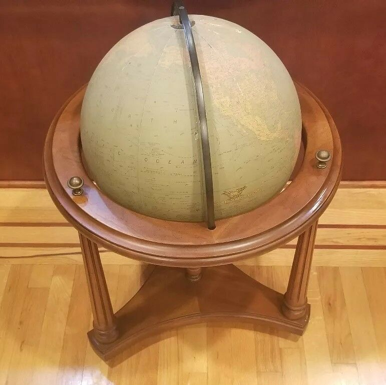 "Vintage Replogle Comprehensive World/ Earth Globe w Light - 31"" Tall"