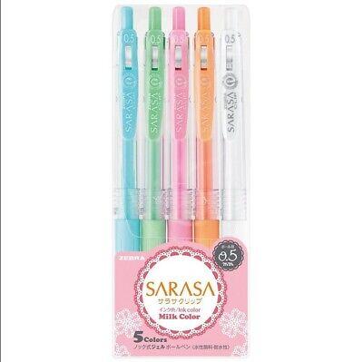 Zebra Sarasa Clip 0.5mm Gel Ink Pen - Milk Color 5-color Set