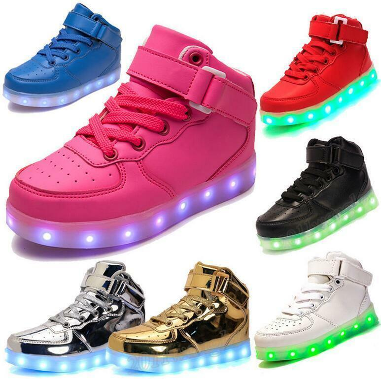 e687c93cfe79 Details about Girls Boys USB 7 LED Light Up Shoes Kids Child High Top  Luminous Casual Sneakers