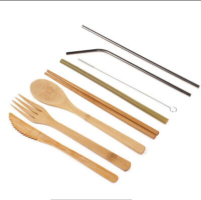 Bamboo  Wood Fork Spoon Knife Tableware Set Flatware Cutlery Steel Straws Kit