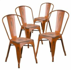 Brand New Distressed Metal Stackable Chairs, Orange