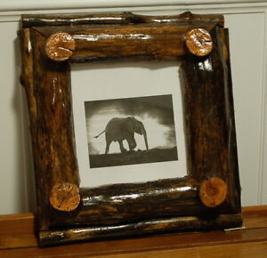 Hand-Crafted Rustic Country Cabin Solid Log Wood Picture Frame
