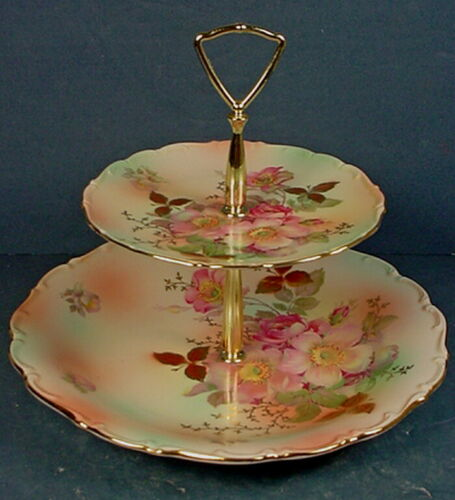 VINTAGE GERMAN SCHUMANN ARZBERG PORCELAIN TWO-TIERED 'WILD ROSE' SERVING TRAY