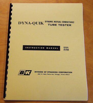 New Chart Book Manual Bk 550 Tube Tester Checker Bk