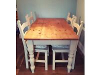 Shabby chic country farmhouse dining table and 4 chairs