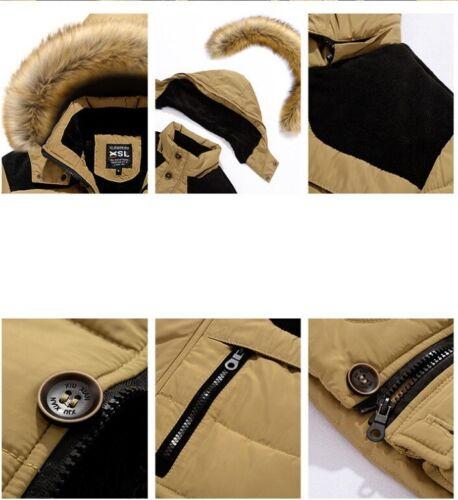 Winter Men/'s Faux Fur Collar Hooded Cotton Down Coat Padded Jacket Overcoat Warm