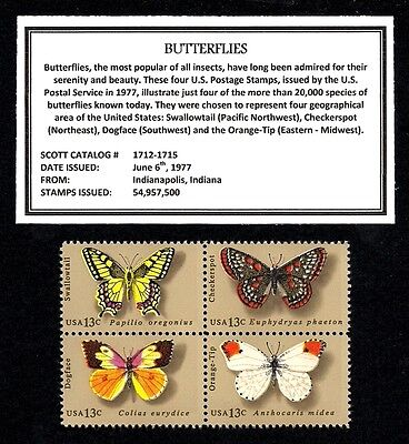 1977 - BUTTERFLIES - MINT NH MNH BLOCK OF FOUR VINTAGE U.S. POSTAGE STAMPS