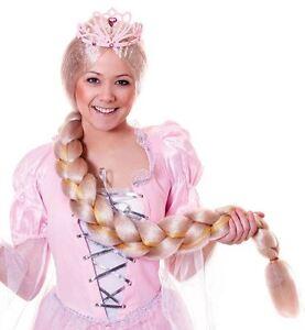 Ladies Long Blonde Plaited Wig Rapunzel Fairy Princess Fancy Dress