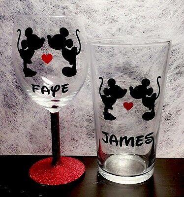 Personalised Mickey & Minnie Wine & Pint Glass, Disney, Mr, Mrs, Names