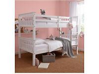 Solid, Chunky, Matt white, soild, wooden, flat packed, sturdy Frame, bunk bed, x 2 ortho, mattress.