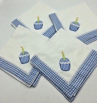 4 Pottery Barn PB Kids Cupcake Applique Cloth Napkins Blue Gingham Check Gingham Checks, Serviette