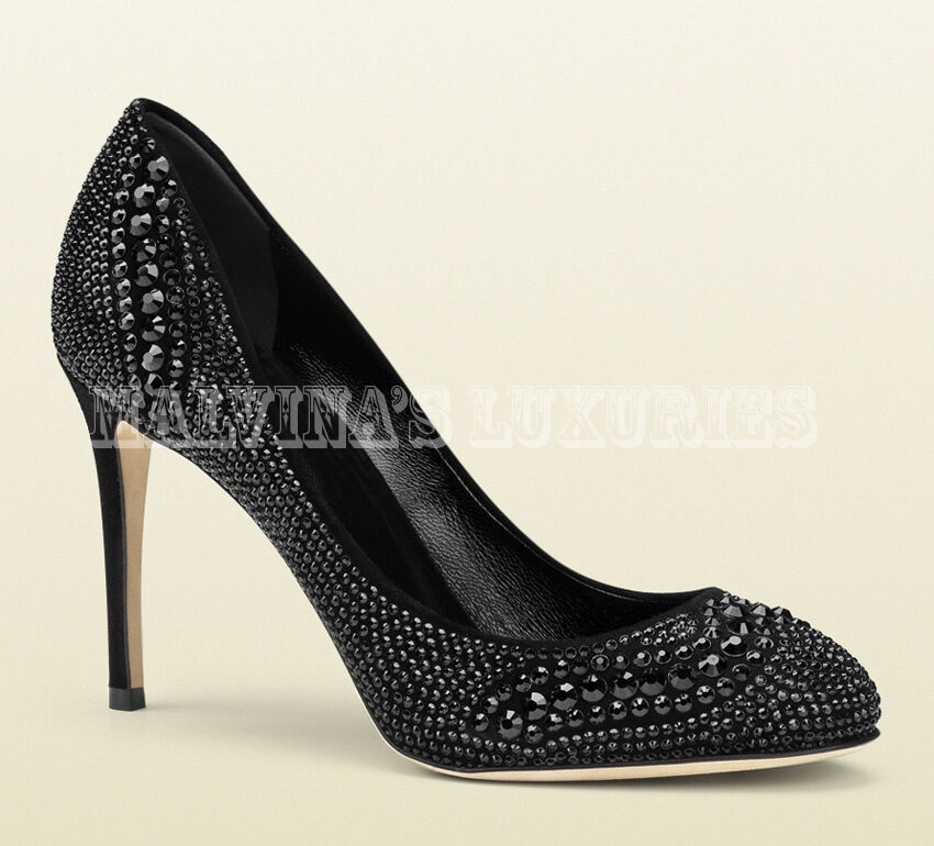 GUCCI SHOES BLACK SUEDE LEATHER PUMPS WITH CRYSTALS $1,450 sz 38 / 8