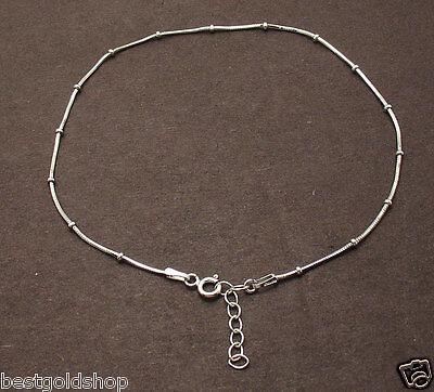 Snake Sterling Anklet - Adjustable Snake & Ball Chain Anklet Bracelet Real Solid 925 Sterling Silver