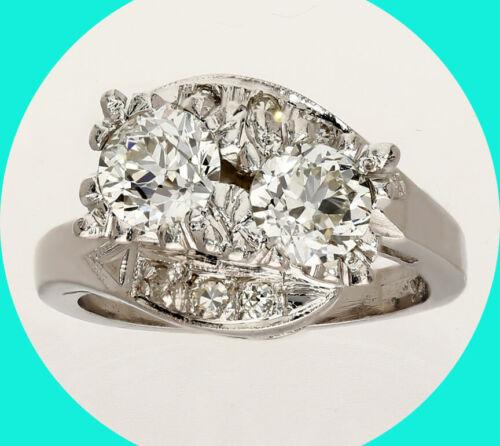 Antique 1.60CT twin diamond ring 14K WG 2 large European round brilliant sz 5.75