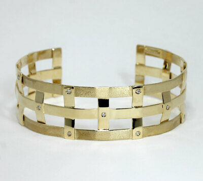 Diamond woven cuff bracelet 14K yellow gold 9 round brilliant .08C 20.35G unique Gold Diamond Cuff Bracelet