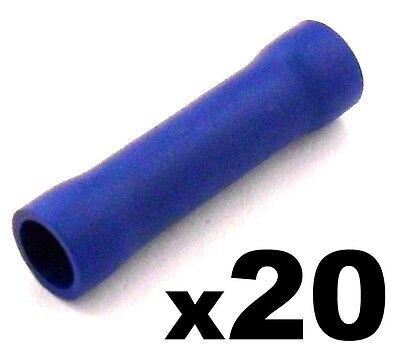 20x Blue Insulated Straight Butt Connector Electrical Crimp Terminals Cable Wire