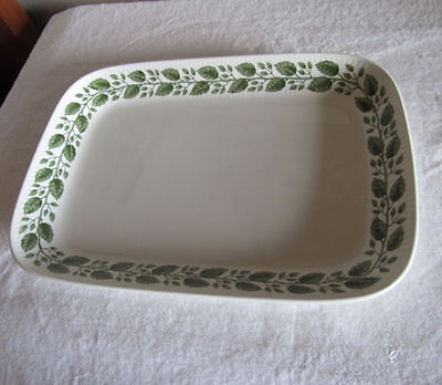 "Rorstrand Ovenware Rectanglar Dish Green Leaves & Vine 13"" X 9"""