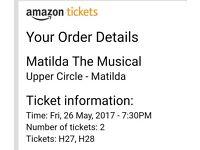 2 x MATILDA musical tickets @7.30pm Fri 26th May