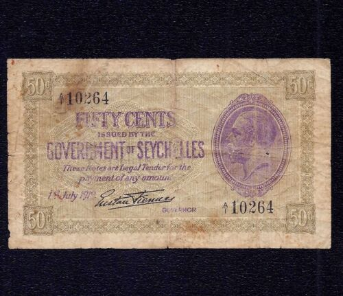 Seychelles 50 Cents  P-1a  * King George V *  Prefix  A1