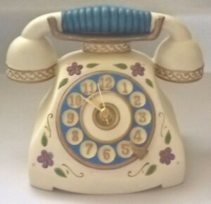 Vintage Ceramic Floral Home Desk Retro Telephone Clock