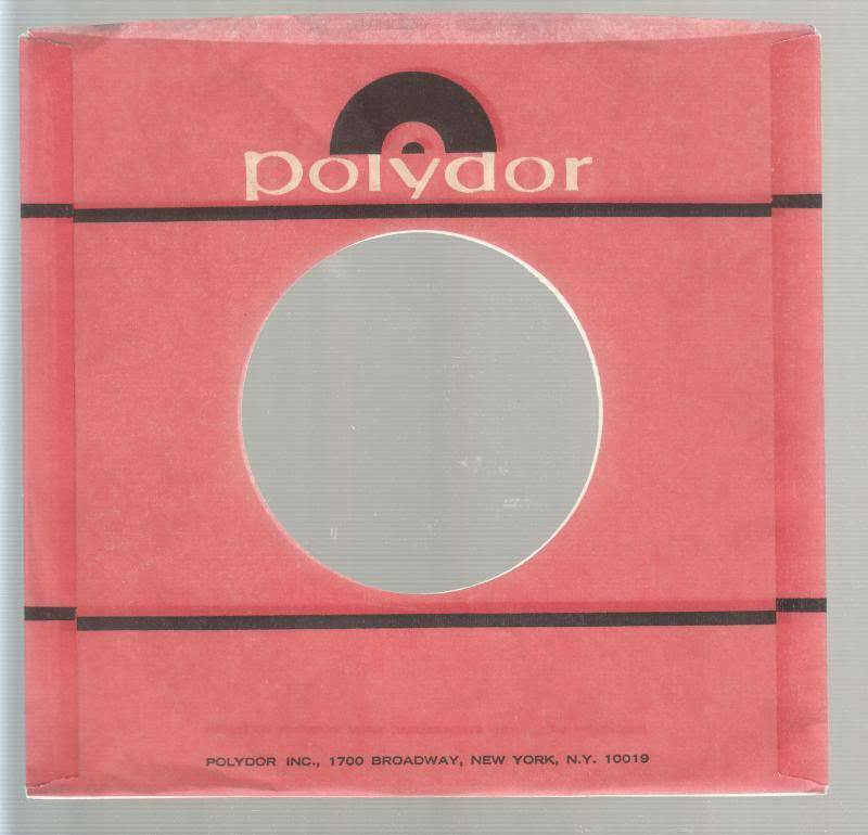 Company Sleeve 45 Polydor Red W/ White Writing & Black Logo On