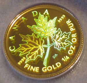 PURE GOLD Maple Leaf Hologram Proof Coin! (2001 1/4 oz)