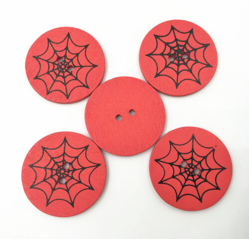 Details About Halloween Buttons Round Spider Web Pattern Wooden Sewing Scrapbooking 30mm
