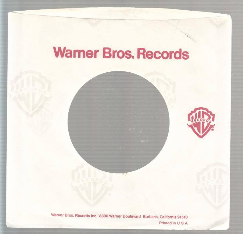 Company Sleeve 45 Warner Bros. White W/ Red Lettering And Logo & Grey Repeating