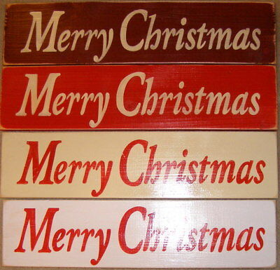 MERRY CHRISTMAS Primitive Rustic Wall Sign Plaque HP Happy Holidays U Pick Color ()