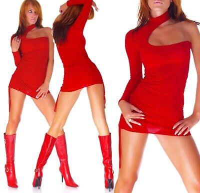 Sexy Micro Mini Abito Rosso Vestito Aderente Stretch Clubwear Go Go Disco...