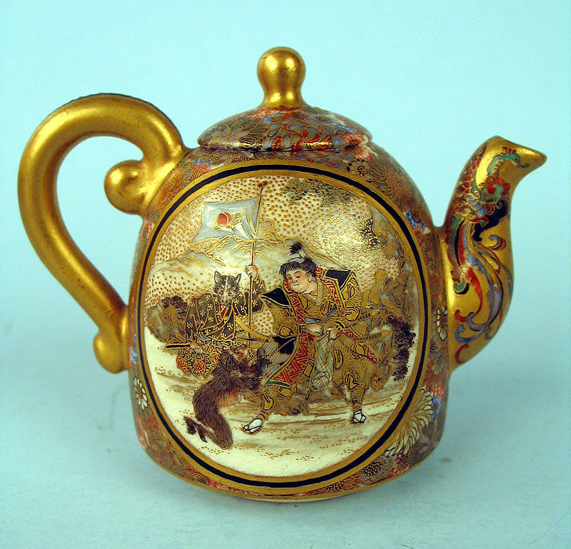 Meiji Japanese Satsuma Teapot Masterpiece W Monkey Cat
