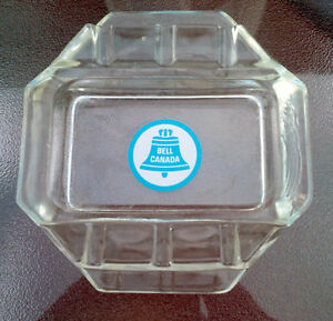 Vintage BELL CANADA TELEPHONE LOGO GLASS Advertising Ashtray