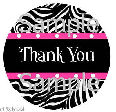 Black Zebra With Pink Trim Design 2 Thank You Sticker Labels - Optional Sizes