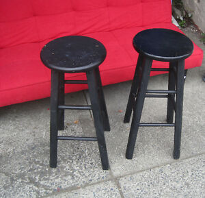 Each - Modern Round Wood Bar Stool or Plant Stand Painted Black