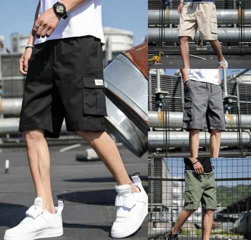 Men Casual Fashion Chino Cargo Shorts Pants Multi Pockets Summer Beach Trousers