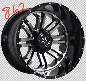 NEW 24 INCH RIMS 24X12 -24 OFFSET 8 BOLT ONLY $2090 FOR SET