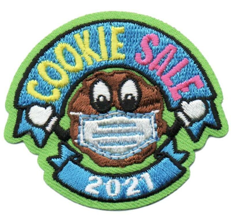 Girl COOKIE SALES 2021 Mask cookies seller Fun Patches Crest Badge SCOUTS GUIDE